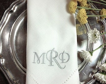 Crown Monogrammed Embroidered Cloth Dinner Napkins, monogrammed cloth napkins, wedding gift, embroidered napkins, wedding napkins, custom