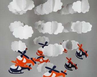 Helicopter and Cloud Baby Paper Mobile in Orange and Navy Blue
