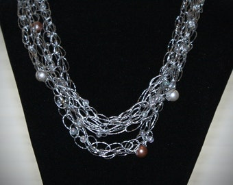 Airy, Stylish Bead Silver Lame Necklace -100% Charity Proceeds & Free Shipping