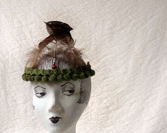 Burning Man Tribalista feather headband, green and brown wild child helmet