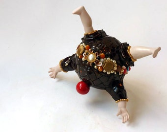 Mosaic sculpture, The Tumbler, poseable tabletop picassiette small sculpture china assembage