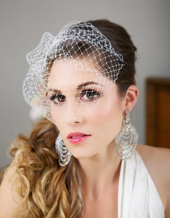 Mini Birdcage Veil, White birdcage veil, Ivory birdcage veil, Champagne Wedding Veil, Bird Cage Veil, 9 inch veil - Made to Order