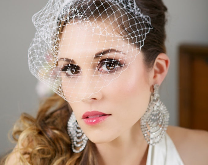 Mini Birdcage Veil, White birdcage veil, Ivory birdcage veil, Champagne Wedding Veil, Bird Cage Veil, 9 inch veil - Made to Order