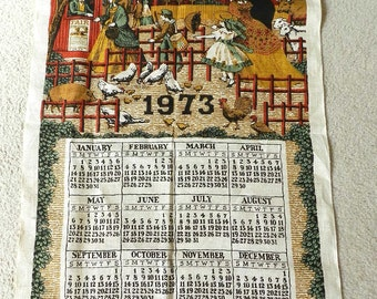 Vintage 1970s Calendar Tea Towel County Fair Covered Bridge Bless this house PICK ONE 1971 1973 1977 or 1979