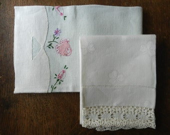 Vintage Woven Damask Ivory with Crochet or Tatting and Linen Floral Border White and Light Mint Green Set of 2