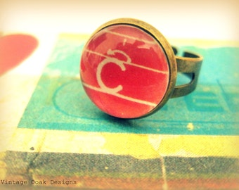 Back to School Jewelry, a b c ring, retro school letter ring, pencil stroke letter ring, fall trends, teacher gift