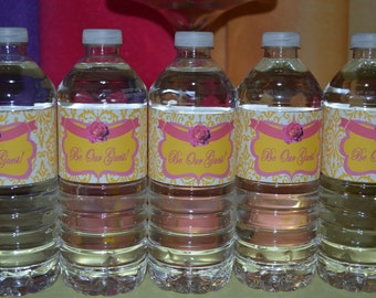 BEAUTY and the BEAST Princess Belle Girl Birthday Party Printable water bottle labels Instant Download
