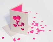 Valentine's Day Card - Cut Paper Hearts with Confetti