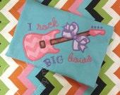 I Rock Big Bows Guitar Name Chevron & Polka Dot Embroidered Applique - White Shirt 100% Cotton - MADE TO ORDER