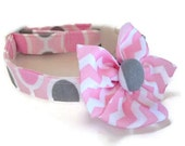 Pink and Grey Dot Chevron Dog Collar size Extra Small