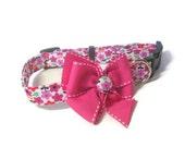 Pink Floral Dog Collar size Large