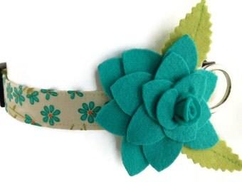 V.I.P. Turquoise Floral Dog Collar
