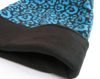 Dog or Cat Burrow Bag, Sleeping Bag, Snuggle Sack, Aqua and Black Leopard Print with Black Fleece Lining