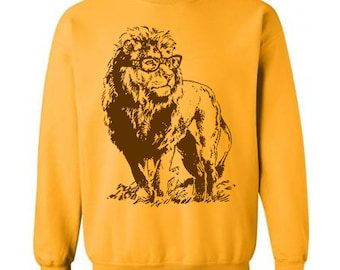 On Sale Lion Professor Sweater Unisex Sweatshirt Fleece Pullover Sweatshirt Lion Sweatshirt Glasses Funny Gift Ideas Book Geek Sweater