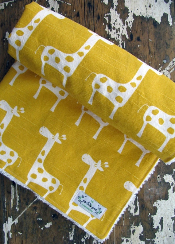 Yellow Baby Blanket - Yellow Giraffes - Gender Neutral Baby Boy or Girl - Chenille or Minky Blanket