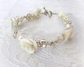 White Bridal Bracelet- Swarovski Crystal and Rhinestones Wedding Bracelet - White and silver Crystal Bridal Bracelet