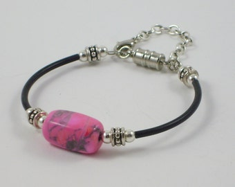 Pink Semi Precious Stone Bead With Rubber Tubing on Memory Wire