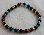 LGBT Gay Lesbian Rainbow Bracelet beaded with Czech glass beads and acylic black pearls