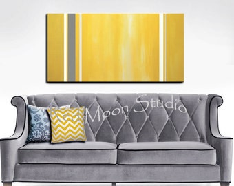 Abstract Art Yellow and Gray Grey Abstract Painting - 48x24