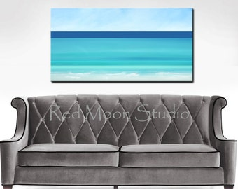 Abstract Seascape, Beach Art, Abstract Ocean Painting, Large 48x24, Original Nautical