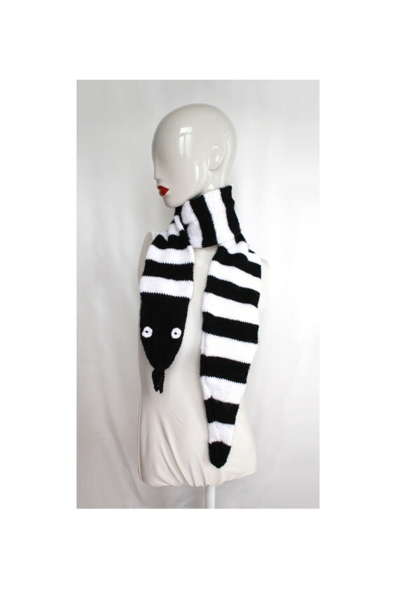 Black and White Striped Snake Scarf