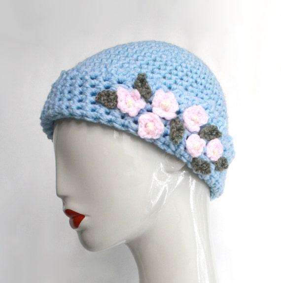 Sky Blue Crochet Wool Hat With Pink Flowers