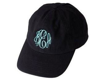 Monogrammed Black Hat, Monogrammed Baseball Cap, Women Baseball Hat, Ladies Black Baseball Cap, Personalized Black Baseball Hat, Black Hat