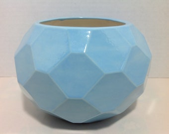 Turquoise Stoneware Planter
