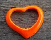 Enamel Heart Charms, Open Heart, Orange, 39mm, 4pcs