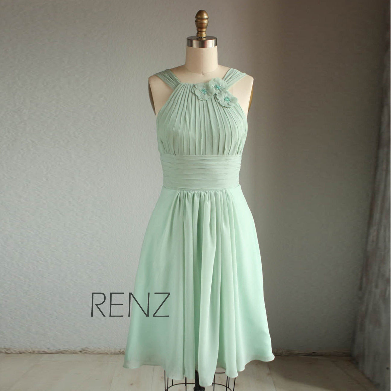 Dusty mint bridesmaid dress a line wedding dress ruched zoom ombrellifo Image collections
