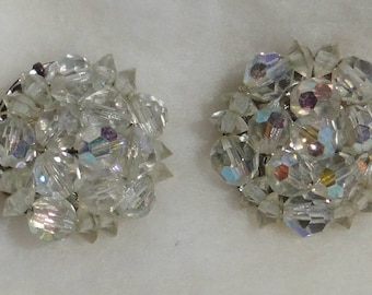 Glass Aurora Borealis faceted bead cluster clip earrings, lots of sparkle