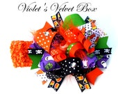 Halloween Hair Bow HEADBAND- Funky Bow- Luxurious Boutique Bow- Over The TOP by Violet's Velvet Box