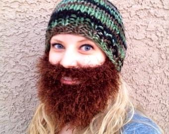 Bearded Beanie - Mossy Oak Camo Camouflage Duck Dynasty's Jase Inspired Hat W/ Brown Furry Beard