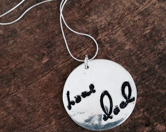 Actual Handwriting Jewelry, Handwriting Necklace, Custom Made Necklace Gift for Her, Engraved Memorial Jewelry, Children's Artwork Jewelry