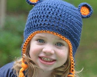 Chicago Bears Crochet Hat with Bear Ears and Ear flaps