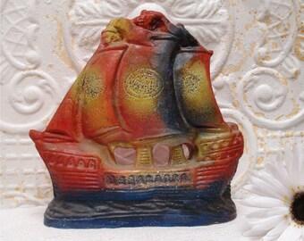 Chalkware Ship Carnival Prize Glitter Vintage