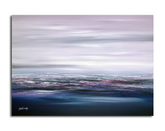"Original abstract landscape oil painting - Purple sky - Purple, violet, indigo, magenta, blue abstract oil painting - 19,7"" x 27,6"""