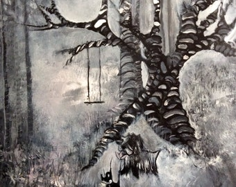 Original Art Black and White Painting Acrylic on Canvas