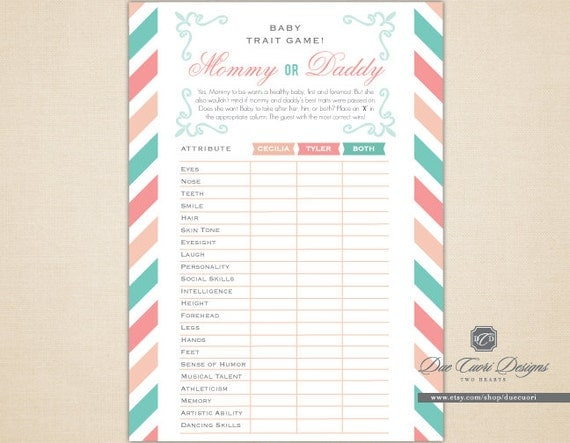items similar to baby trait game like mommy or daddy printable and
