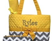 Personalized Chevron Diaper Bag Set - Zig Zag Baby Tote Set - Yellow with Gray & White Chevron Quilted Diaperbag Baby boy or girl