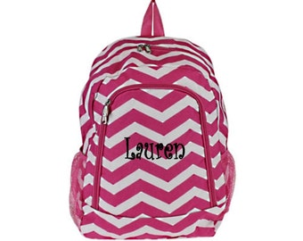 Personalized  Chevron Backpack - Girls Canvas Booksack Hot Pink Zig Zag Full Size School Backpack Monogrammed FREE