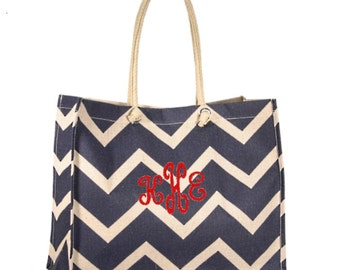 Personalized Large Chevron Navy Jute Tote or Purse - Great Shopping Bag - Monogrammed FREE