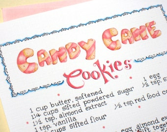 Christmas Cookie Card. Candy Cane Cookies Recipe Card. Hand Lettered Recipe Illustration