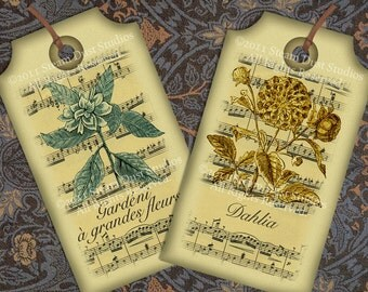 Victorian French Botanical Gift Tags with Antique Sheet Music - Set of 6 - Digital Tags, Labels, Cards - Shabby Chic Printables, Downloads