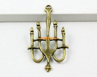 10Pcs  Antique Brass Candle light Charms Candle light Pendants 52x28mm (PND757)