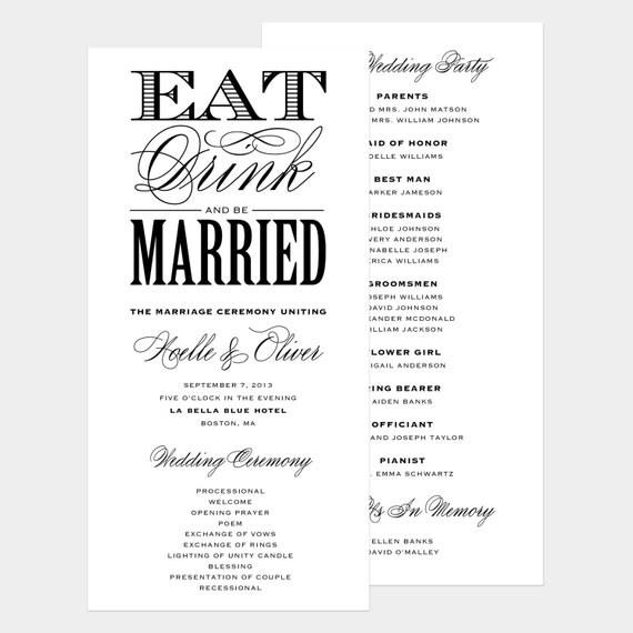Be Married Wedding Program