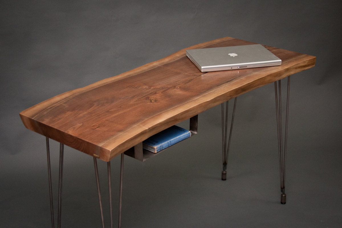 Your custom modern live edge black walnut desk elegant - Walnut office desk ...