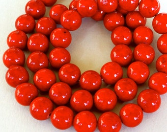 12 RED Natural RIVERSTONE 8mm Bead - Round Opaque Natural River Stone Gemstone Bead - Wholesale Beads - Instant Shipping - USA Seller - 4423