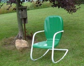 Mid Century Two Tone Green and White Shell Back  ROCKING Chair from the 1950s Completely Refurbished Ready to Go
