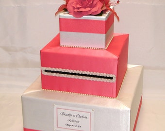 Ivory/Coral Reef Wedding Card Box-any color combination/rhinestone accents